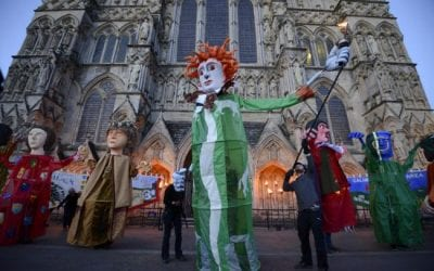 Giant barom puppets bought colour to the streets of Salisbury